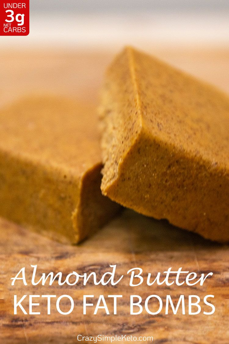 Almond Butter Keto Fat Bomb with No Sweetener - CrazySimpleKeto.com