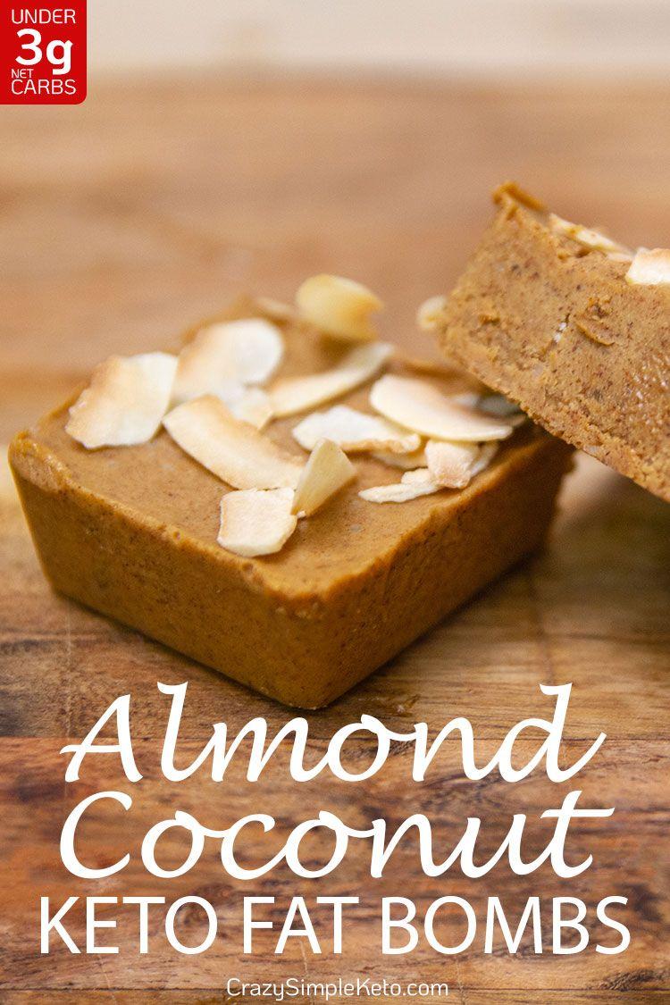 Almond Coconut Keto Fat Bombs with No Sweetener - CrazySimpleKeto.com