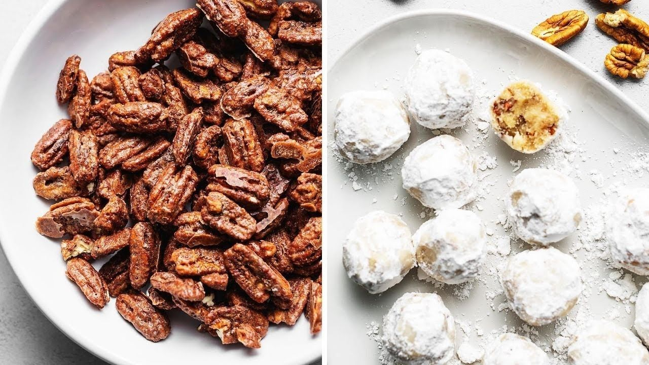 Keto Candied Pecans and Keto Snowball Cookies
