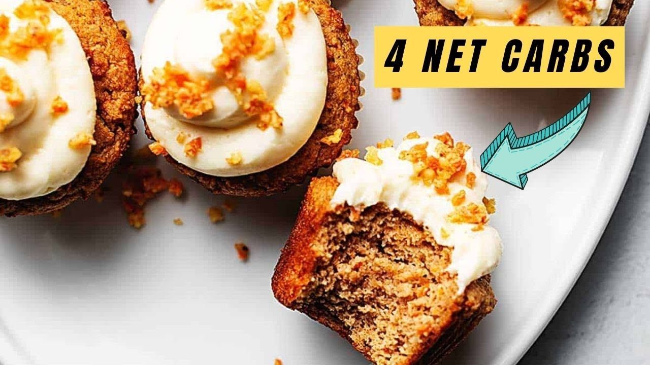 Keto Carrot Cake Cupcakes with Cream Cheese Frosting