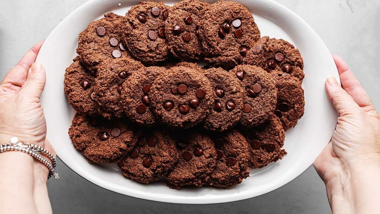 Keto Chewy Double Chocolate Chip Cookies