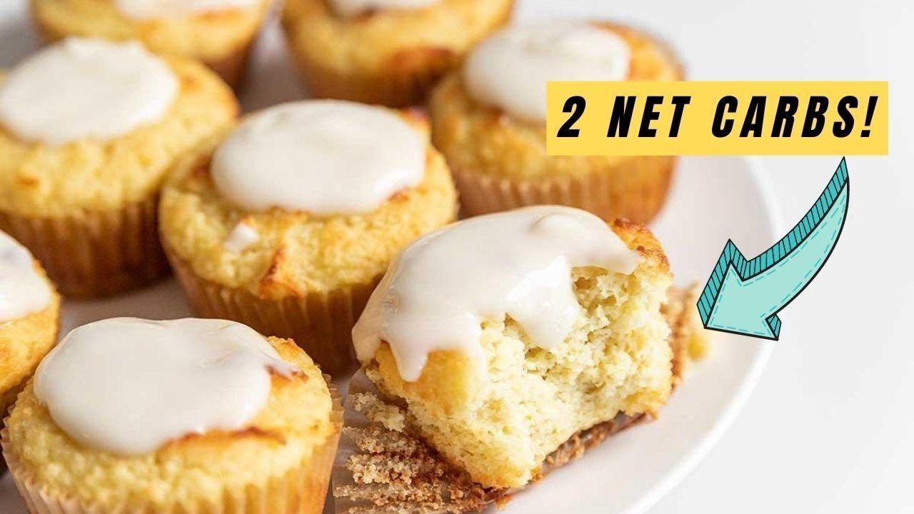 Keto Lemon Pound Cake Muffins with Lemon Glaze