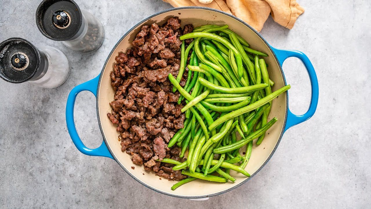 Keto One-Pan Ground Beef & Green Beans Recipe