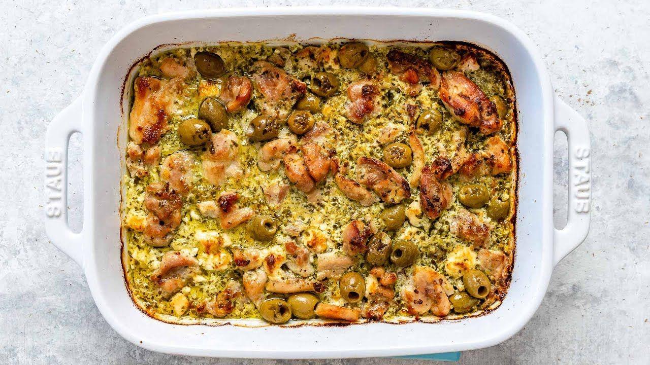 Keto Pesto Chicken, Feta, and Olive Casserole Recipe