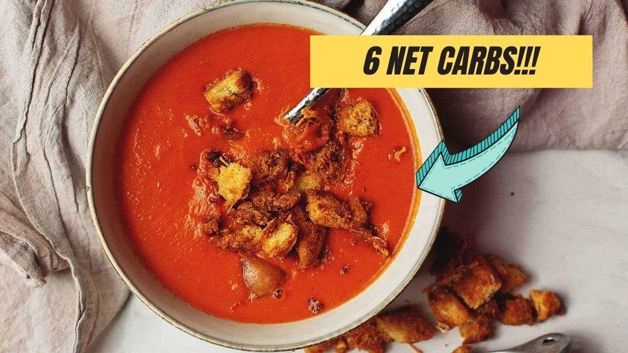 Keto Creamy Tomato Soup With Parmesan Croutons