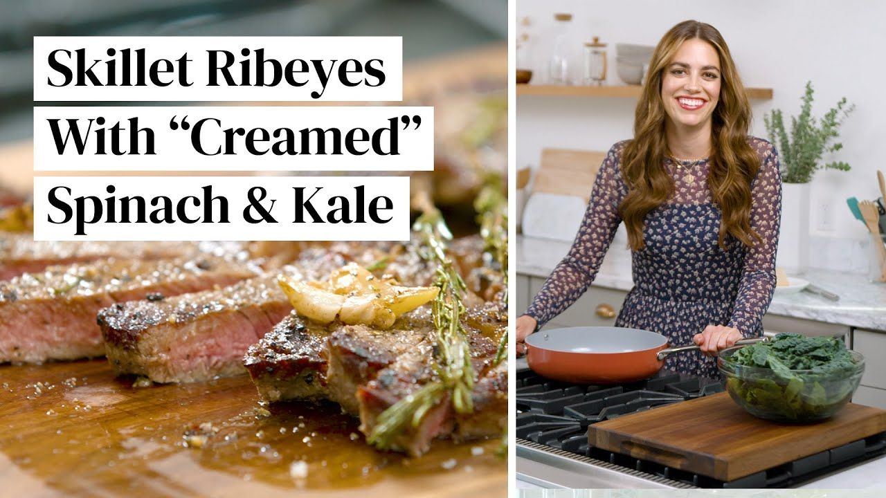 """New Year's Eve Dinner: Wagyu Steaks with """"Creamed"""" Spinach & Kale (Paleo + Keto) 