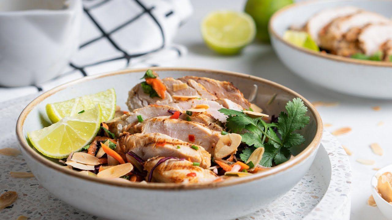 Crunchy Keto Thai Chicken Salad Bowl