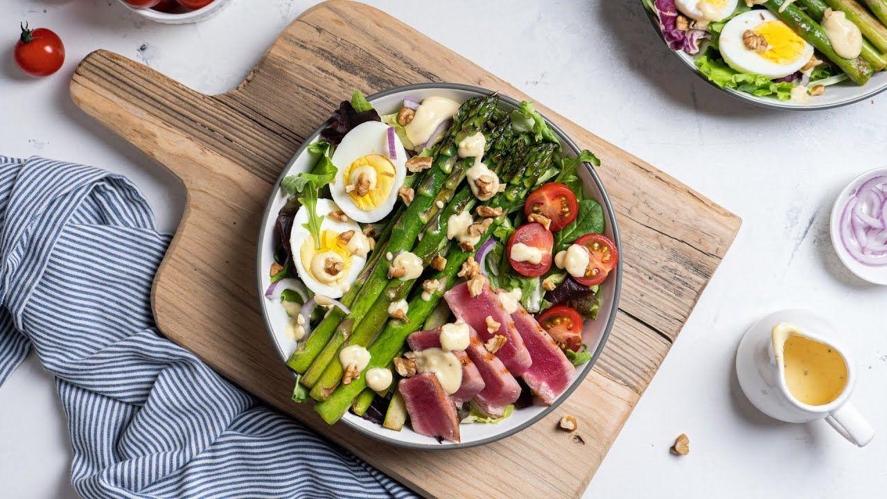 Keto Grilled Tuna Salad with Garlic Dressing